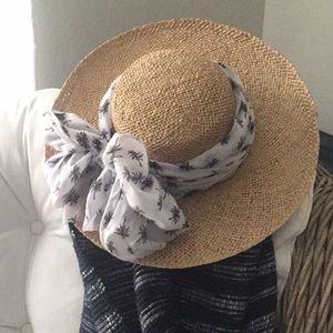 New floppy straw hat with palm tree scarf wrap